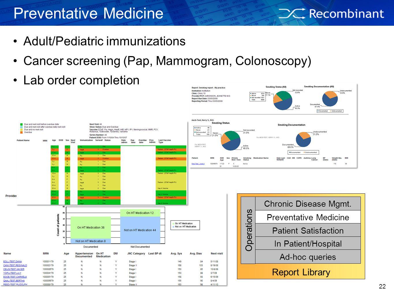 22 Preventative Medicine Adult/Pediatric immunizations Cancer screening (Pap, Mammogram, Colonoscopy) Lab order completion Report Library Chronic Dise