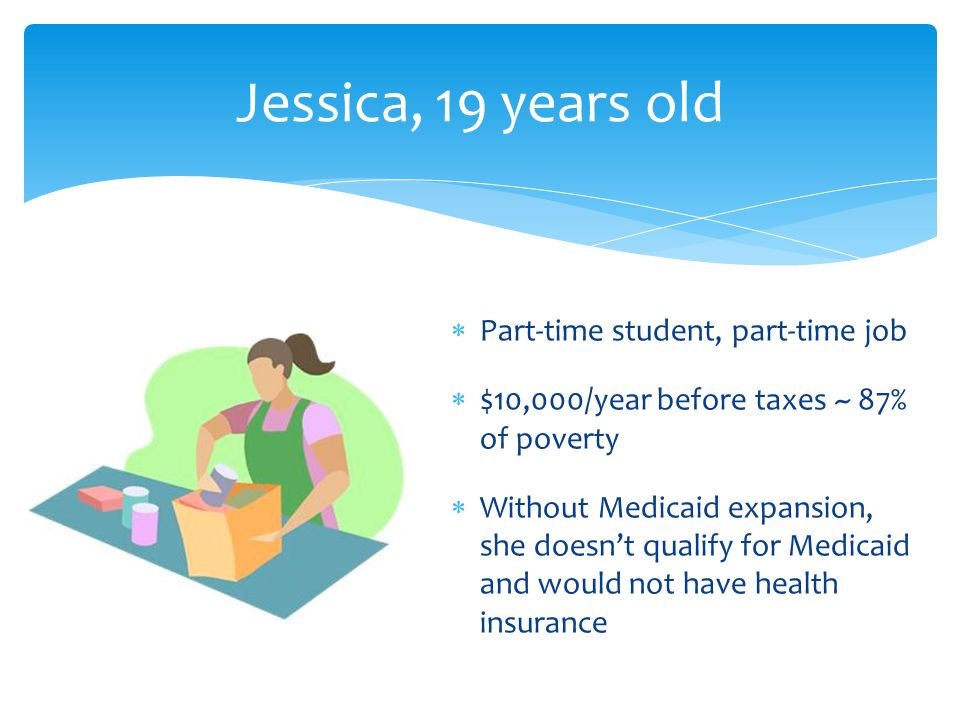 Jessica, 19 years old  Part-time student, part-time job  $10,000/year before taxes ~ 87% of poverty  Without Medicaid expansion, she doesn't qualify for Medicaid and would not have health insurance