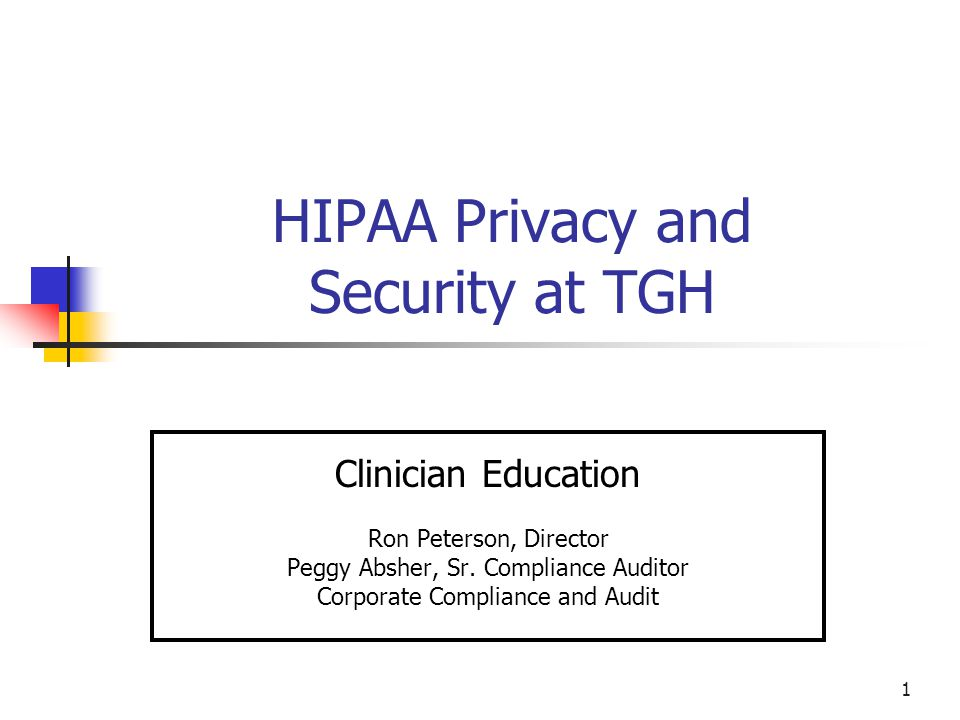 2 HIPAA - Background The Health Insurance Portability and Accountability Act (HIPAA) of 1996 established the basis for the Privacy and Security Rules.
