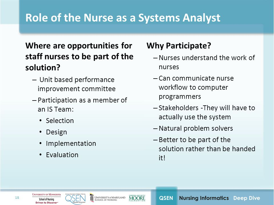 18 Role of the Nurse as a Systems Analyst Where are opportunities for staff nurses to be part of the solution.