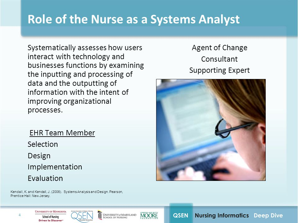 4 Role of the Nurse as a Systems Analyst Systematically assesses how users interact with technology and businesses functions by examining the inputting and processing of data and the outputting of information with the intent of improving organizational processes.