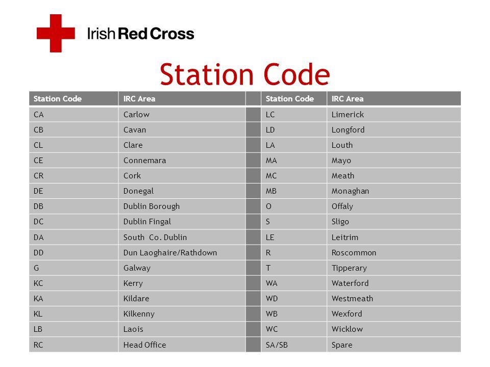 Station CodeIRC AreaStation CodeIRC Area CACarlowLCLimerick CBCavanLDLongford CLClareLALouth CEConnemaraMAMayo CRCorkMCMeath DEDonegalMBMonaghan DBDub