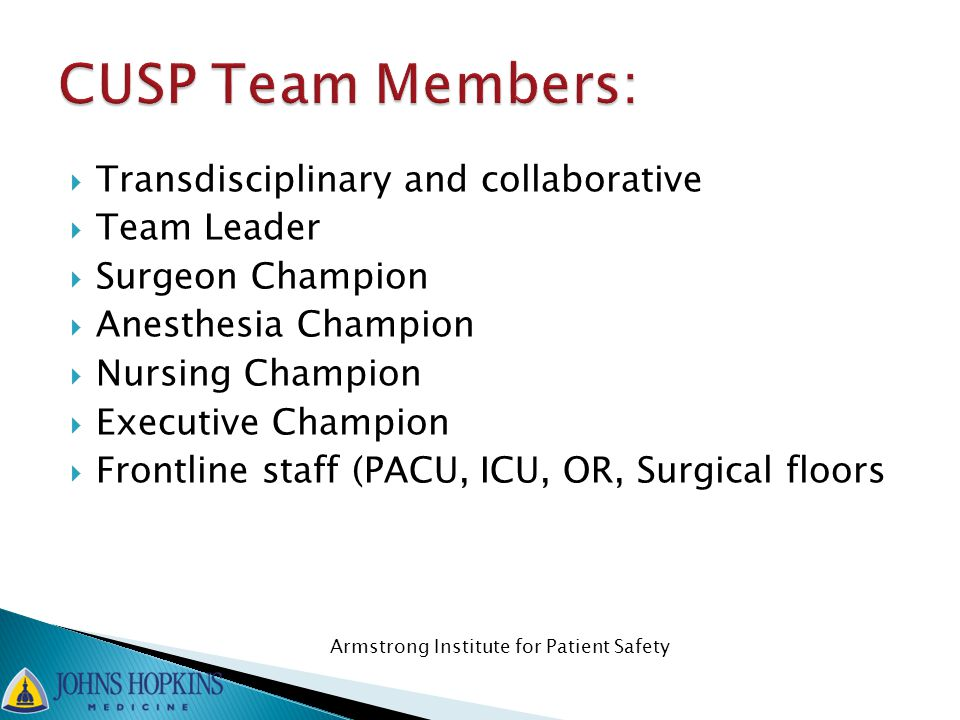  Transdisciplinary and collaborative  Team Leader  Surgeon Champion  Anesthesia Champion  Nursing Champion  Executive Champion  Frontline staff