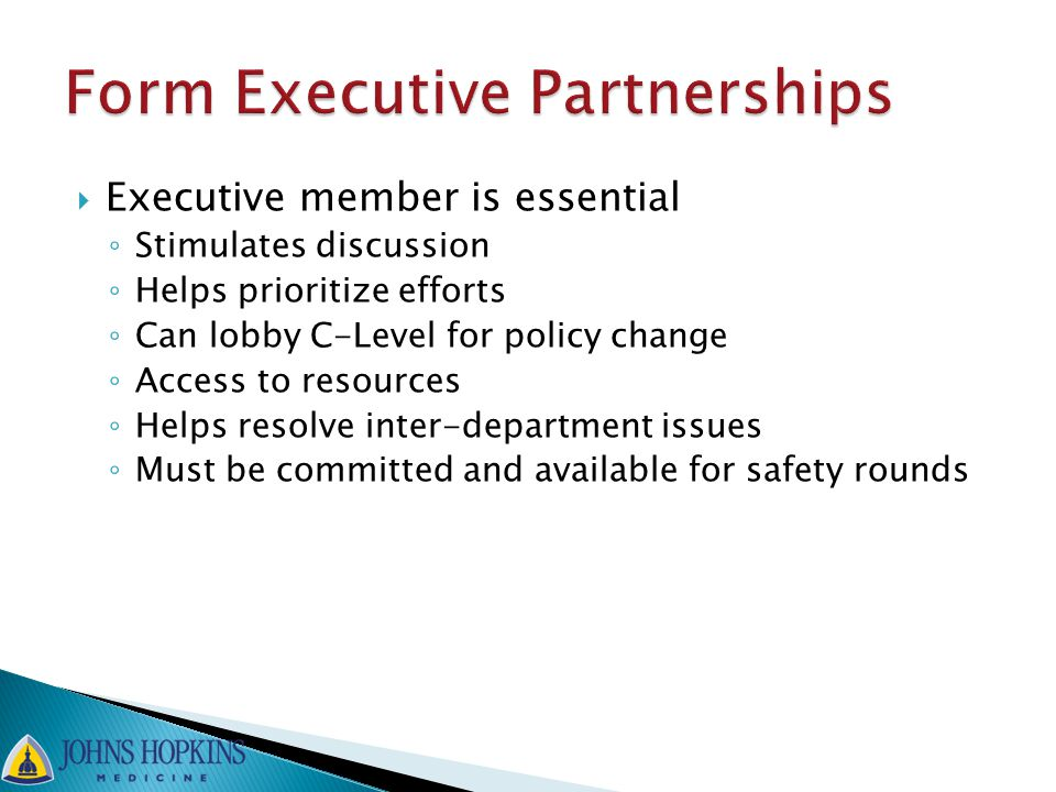  Executive member is essential ◦ Stimulates discussion ◦ Helps prioritize efforts ◦ Can lobby C-Level for policy change ◦ Access to resources ◦ Helps