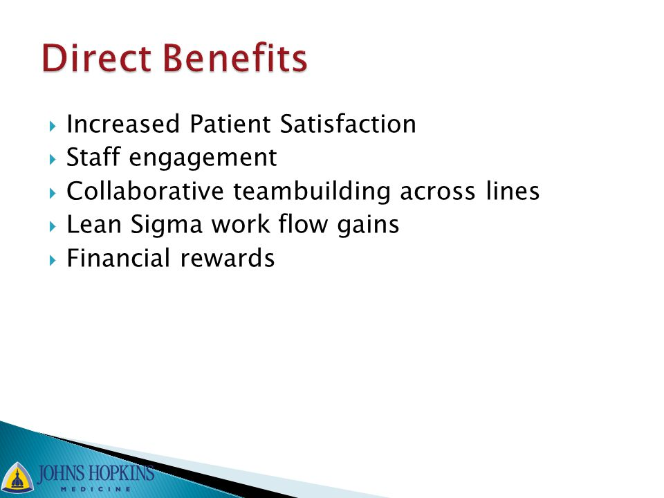  Increased Patient Satisfaction  Staff engagement  Collaborative teambuilding across lines  Lean Sigma work flow gains  Financial rewards