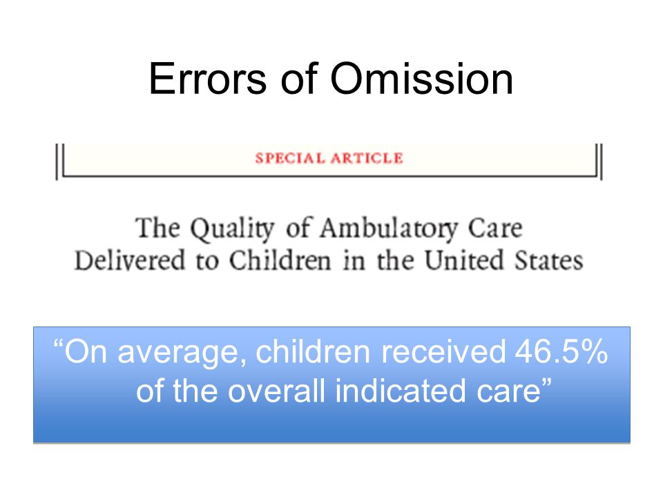 Errors of Omission On average, children received 46.5% of the overall indicated care