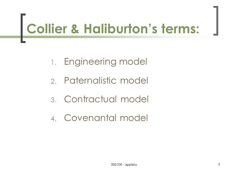 Collier & Haliburton's terms: 1. Engineering model 2. Paternalistic model 3. Contractual model 4. Covenantal model 300/330 - appleby5
