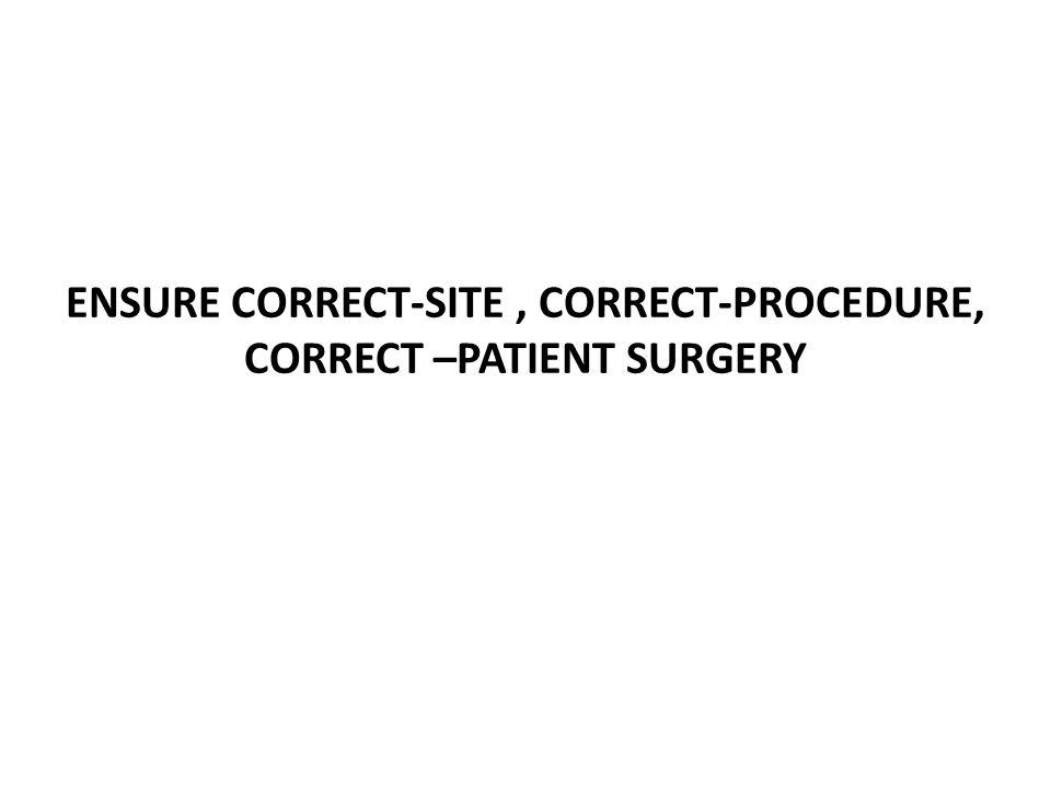 ENSURE CORRECT-SITE, CORRECT-PROCEDURE, CORRECT –PATIENT SURGERY