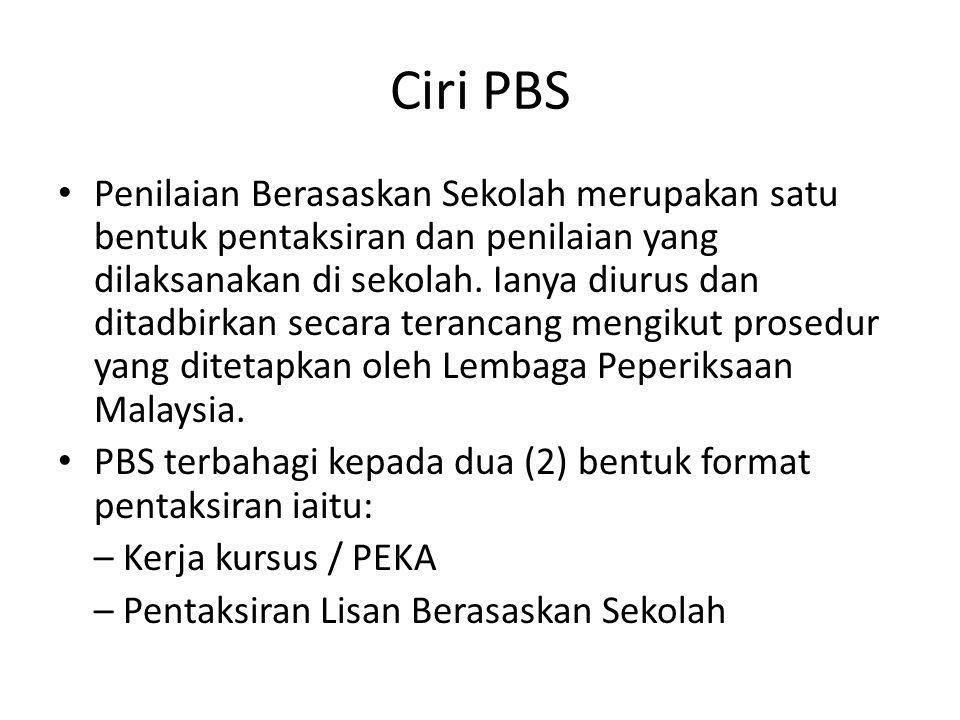 Ciri PBS Penilaian Berasaskan Sekolah merupakan satu bentuk pentaksiran dan penilaian yang dilaksanakan di sekolah. Ianya diurus dan ditadbirkan secar