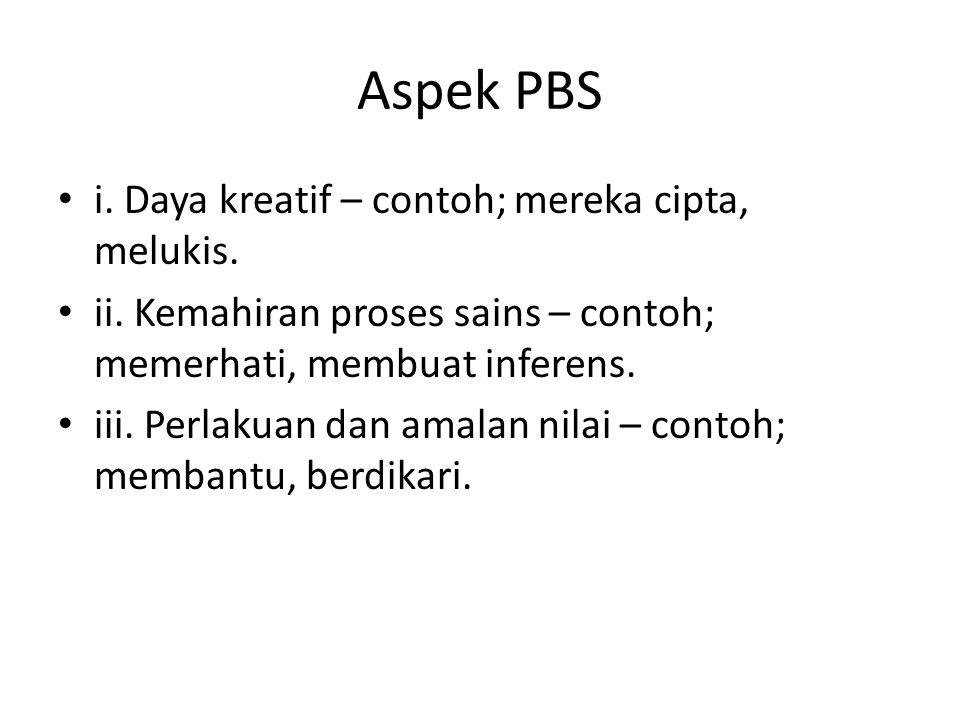 Aspek PBS i. Daya kreatif – contoh; mereka cipta, melukis. ii. Kemahiran proses sains – contoh; memerhati, membuat inferens. iii. Perlakuan dan amalan
