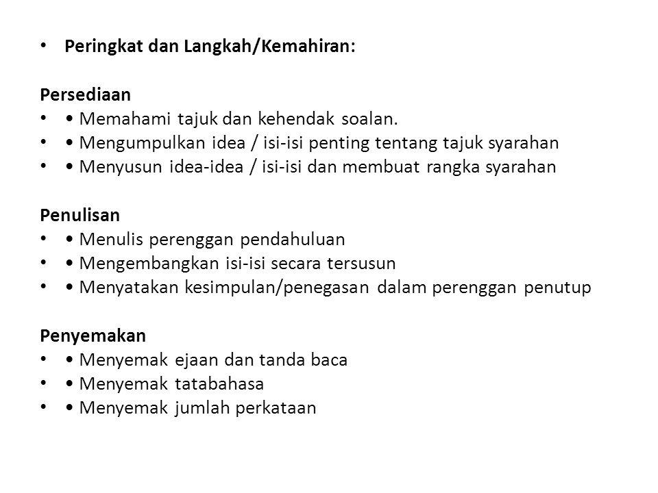 Peringkat dan Langkah/Kemahiran: Persediaan Memahami tajuk dan kehendak soalan. Mengumpulkan idea / isi-isi penting tentang tajuk syarahan Menyusun id