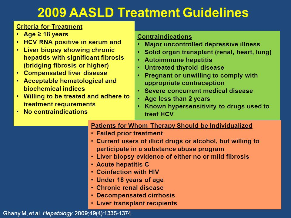 2009 AASLD Treatment Guidelines Criteria for Treatment Age ≥ 18 years HCV RNA positive in serum and Liver biopsy showing chronic hepatitis with significant fibrosis (bridging fibrosis or higher) Compensated liver disease Acceptable hematological and biochemical indices Willing to be treated and adhere to treatment requirements No contraindications Contraindications Major uncontrolled depressive illness Solid organ transplant (renal, heart, lung) Autoimmune hepatitis Untreated thyroid disease Pregnant or unwilling to comply with appropriate contraception Severe concurrent medical disease Age less than 2 years Known hypersensitivity to drugs used to treat HCV Patients for Whom Therapy Should be Individualized Failed prior treatment Current users of illicit drugs or alcohol, but willing to participate in a substance abuse program Liver biopsy evidence of either no or mild fibrosis Acute hepatitis C Coinfection with HIV Under 18 years of age Chronic renal disease Decompensated cirrhosis Liver transplant recipients Ghany M, et al.