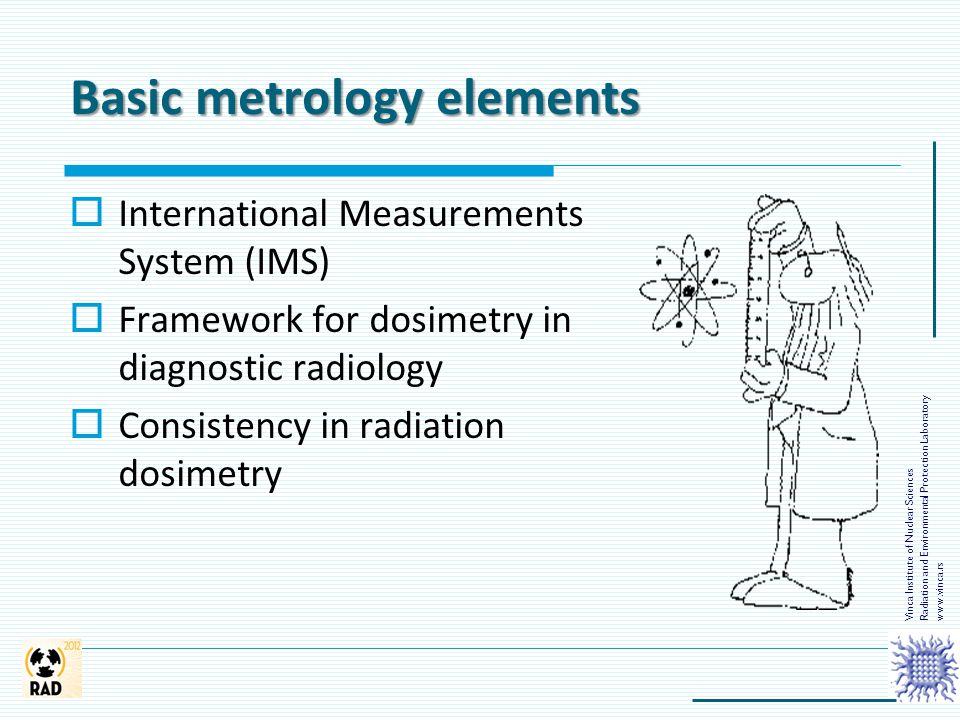 Basic metrology elements  International Measurements System (IMS)  Framework for dosimetry in diagnostic radiology  Consistency in radiation dosime