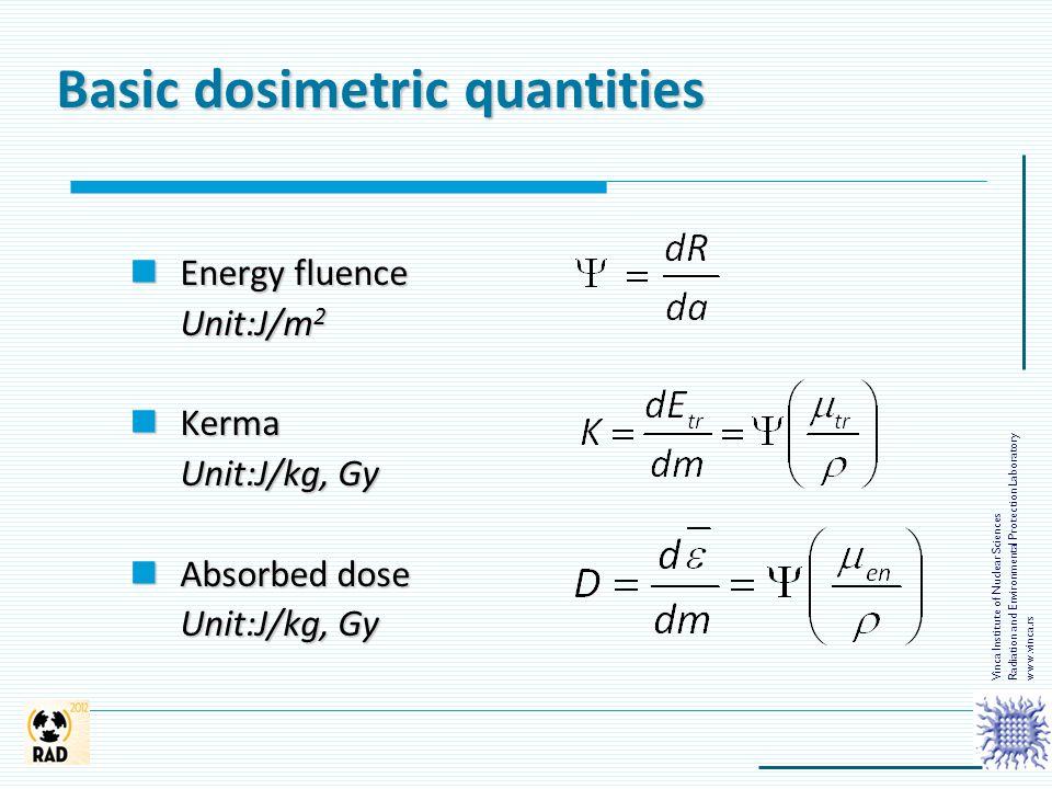 Energy fluence Energy fluence Unit:J/m 2 Kerma Kerma Unit:J/kg, Gy Absorbed dose Absorbed dose Unit:J/kg, Gy Basic dosimetric quantities Vinca Institu