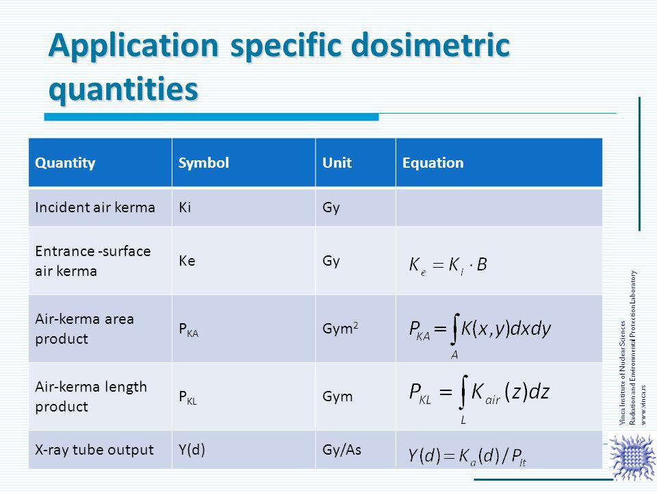 Application specific dosimetric quantities QuantitySymbolUnitEquation Incident air kermaKiGy Entrance -surface air kerma KeGy Air-kerma area product P