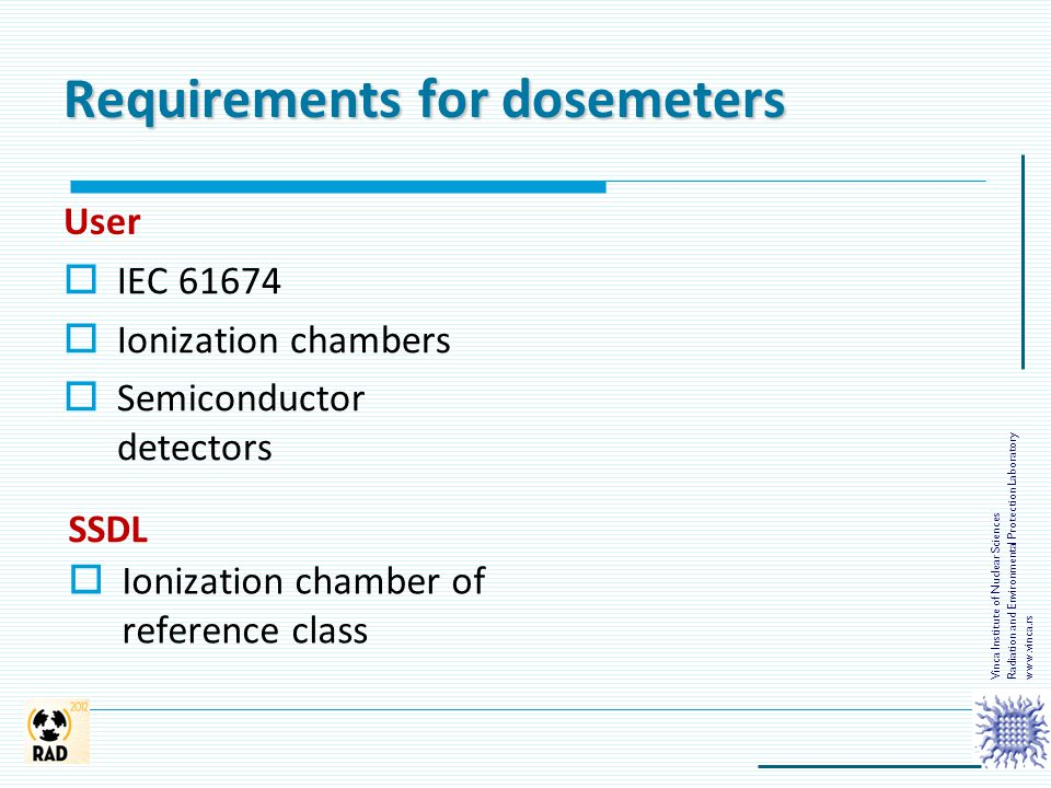 Requirements for dosemeters User  IEC 61674  Ionization chambers  Semiconductor detectors SSDL  Ionization chamber of reference class Vinca Instit