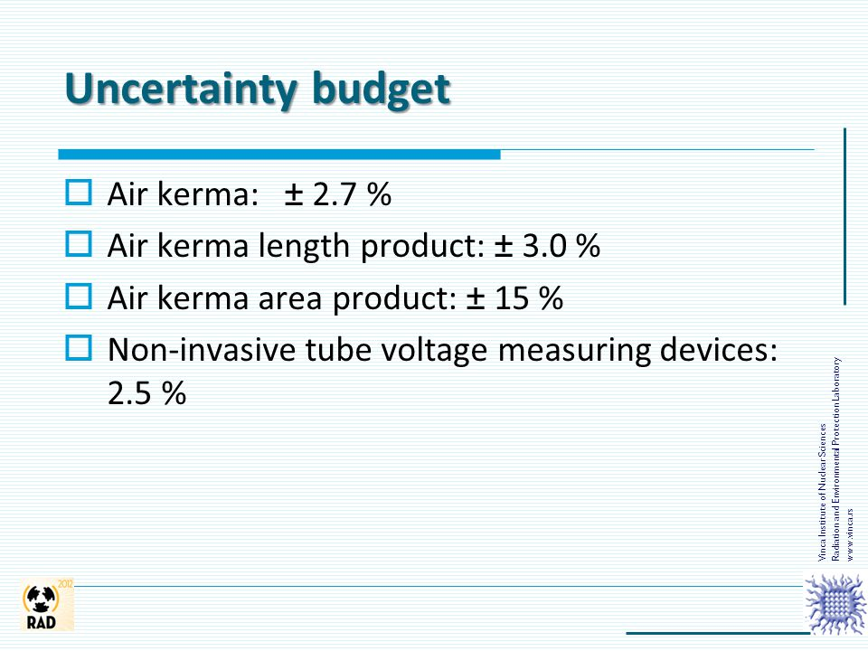 Uncertainty budget  Air kerma: ± 2.7 %  Air kerma length product: ± 3.0 %  Air kerma area product: ± 15 %  Non-invasive tube voltage measuring dev