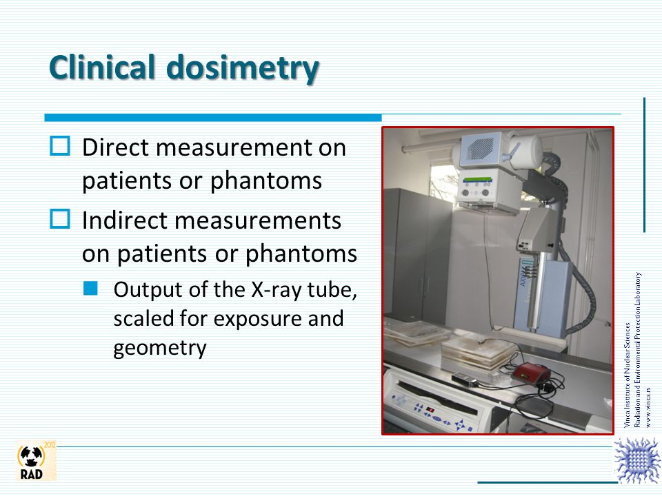 Clinical dosimetry  Direct measurement on patients or phantoms  Indirect measurements on patients or phantoms Output of the X-ray tube, scaled for e