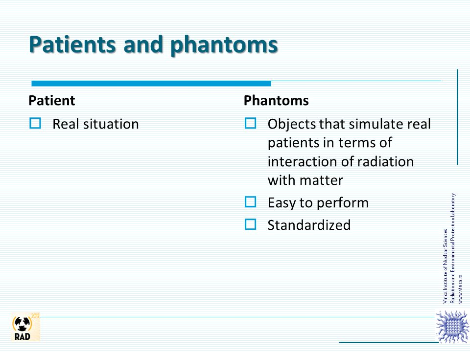 Patients and phantoms Patient  Real situation Phantoms  Objects that simulate real patients in terms of interaction of radiation with matter  Easy