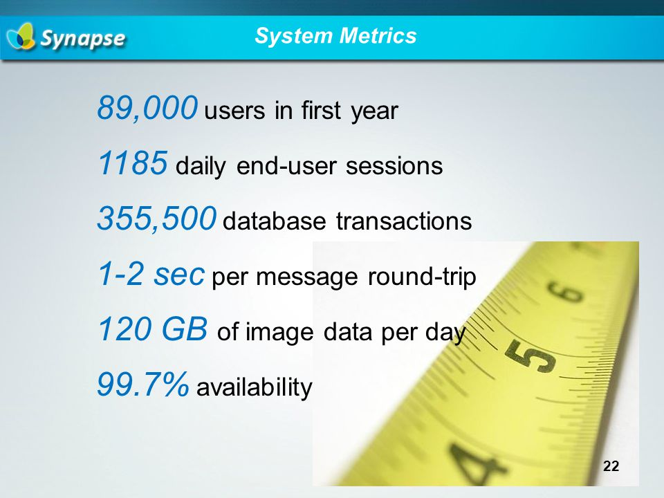 System Metrics 89,000 users in first year 1185 daily end-user sessions 355,500 database transactions 1-2 sec per message round-trip 120 GB of image data per day 99.7% availability 22