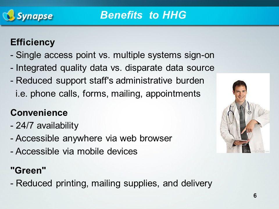 Benefits to HHG Efficiency - Single access point vs.