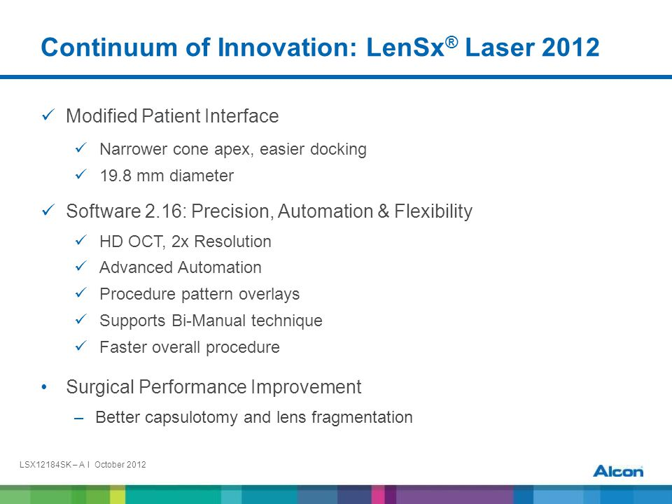 LSX12184SK – A I October 2012 Product Requirements The LenSx ® SoftFit™ Patient Interface Delivers: Lower IOP Easier docking Patient comfort Free floating capsulotomy in nearly all cases Pristine cut edges