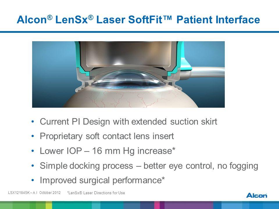 LSX12184SK – A I October 2012 New LenSx ® Laser SoftFit ™ Patient Interface: Reduces Corneal Compression & IOP to 16 mmHg Over Baseline