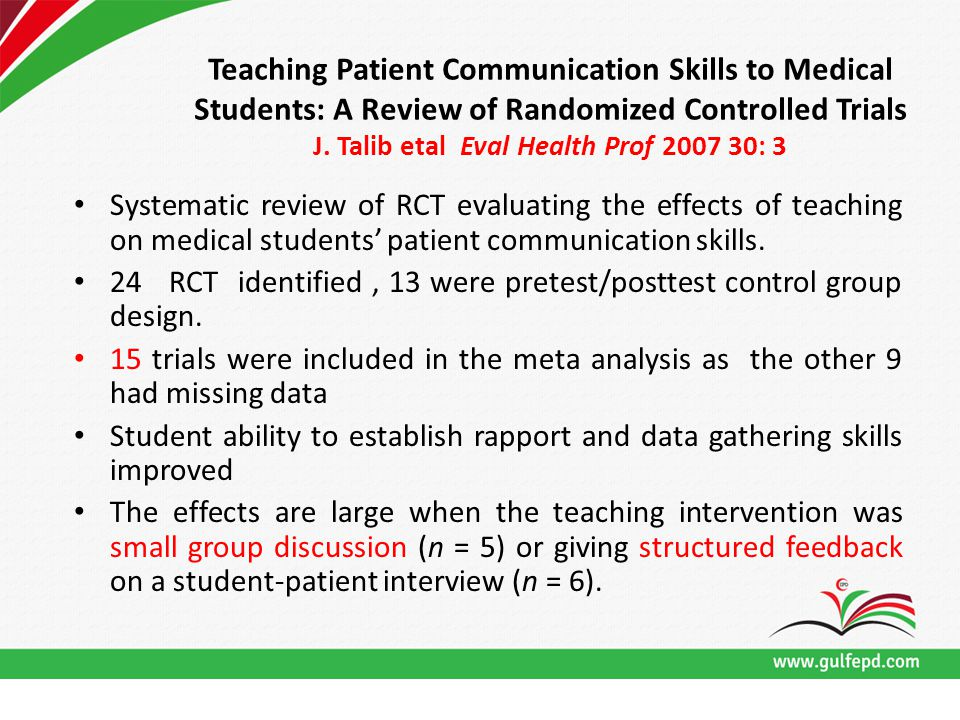 Teaching Patient Communication Skills to Medical Students: A Review of Randomized Controlled Trials J. Talib etal Eval Health Prof 2007 30: 3 Systemat