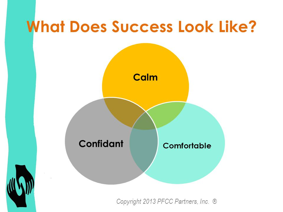 What Does Success Look Like Calm Comfortable Confidant Copyright 2013 PFCC Partners, Inc. ®