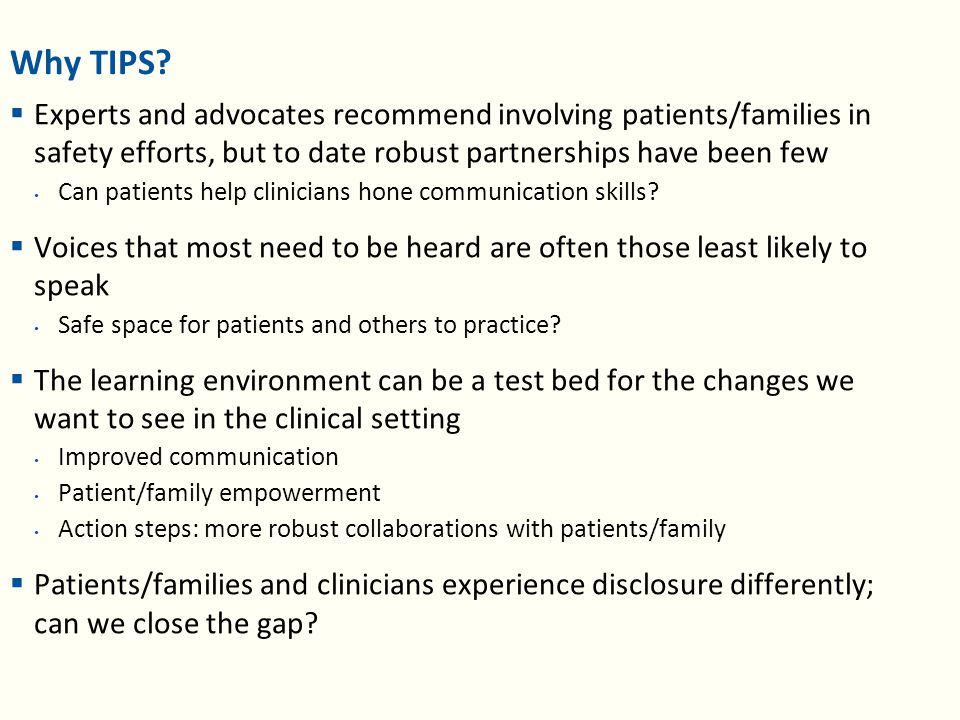 What specifically was valuable (patients/family)  Emotional impact and insight in the clinician's experience How they feel when a medical error happened to one of their patients, I had never heard medical people acknowledge feeling before.  Accountability after medical error How they see their own responsibility and how they make look at stakeholdership differently.  New appreciation for clinicians Their honesty and self-reflection and their sharing of both.