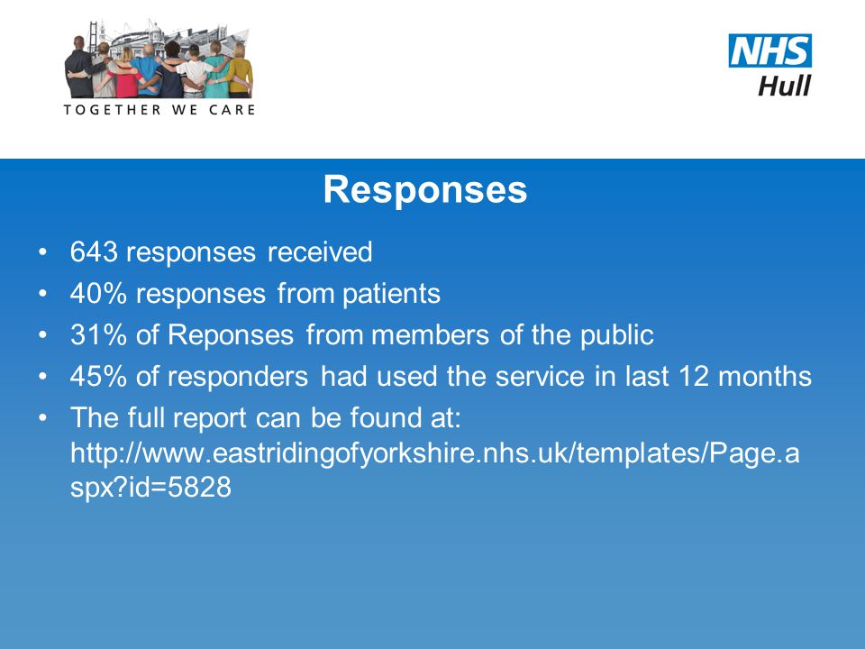 Responses 643 responses received 40% responses from patients 31% of Reponses from members of the public 45% of responders had used the service in last 12 months The full report can be found at: http://www.eastridingofyorkshire.nhs.uk/templates/Page.a spx id=5828