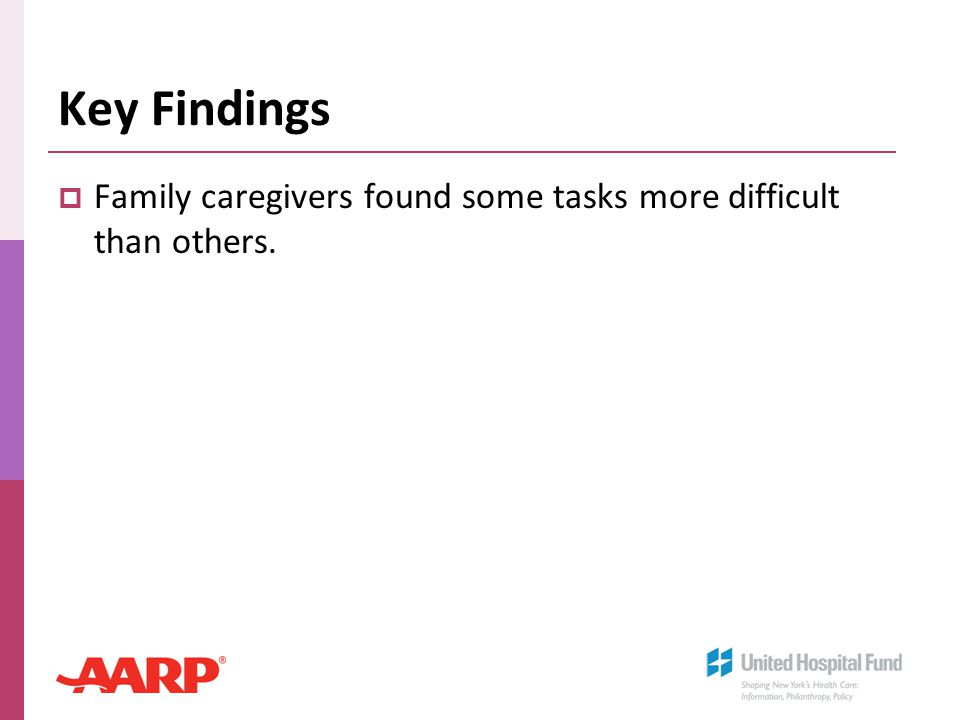 Key Findings  Family caregivers found some tasks more difficult than others.