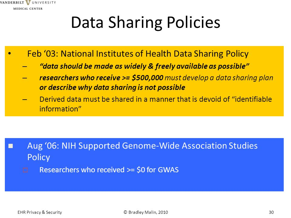 Data Sharing Policies Feb '03: National Institutes of Health Data Sharing Policy – data should be made as widely & freely available as possible – researchers who receive >= $500,000 must develop a data sharing plan or describe why data sharing is not possible – Derived data must be shared in a manner that is devoid of identifiable information Aug '06: NIH Supported Genome-Wide Association Studies Policy  Researchers who received >= $0 for GWAS EHR Privacy & Security© Bradley Malin, 201030