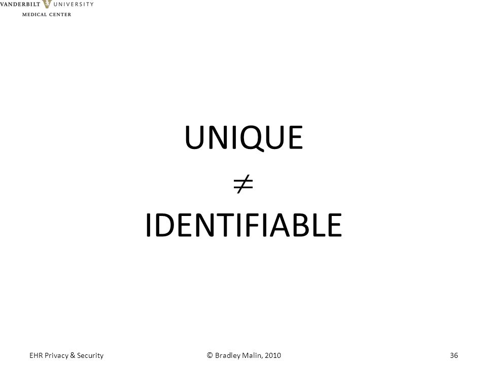 UNIQUE  IDENTIFIABLE EHR Privacy & Security© Bradley Malin, 201036