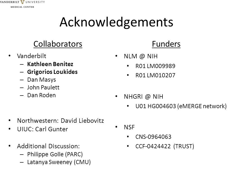 Acknowledgements Vanderbilt – Kathleen Benitez – Grigorios Loukides – Dan Masys – John Paulett – Dan Roden Northwestern: David Liebovitz UIUC: Carl Gu