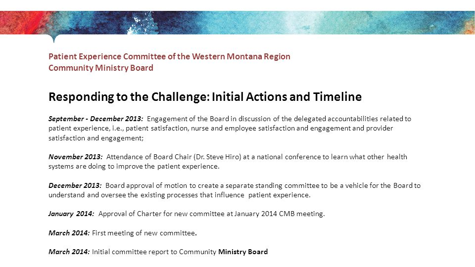 Responding to the Challenge: Initial Actions and Timeline September - December 2013: Engagement of the Board in discussion of the delegated accountabilities related to patient experience, i.e., patient satisfaction, nurse and employee satisfaction and engagement and provider satisfaction and engagement; November 2013: Attendance of Board Chair (Dr.