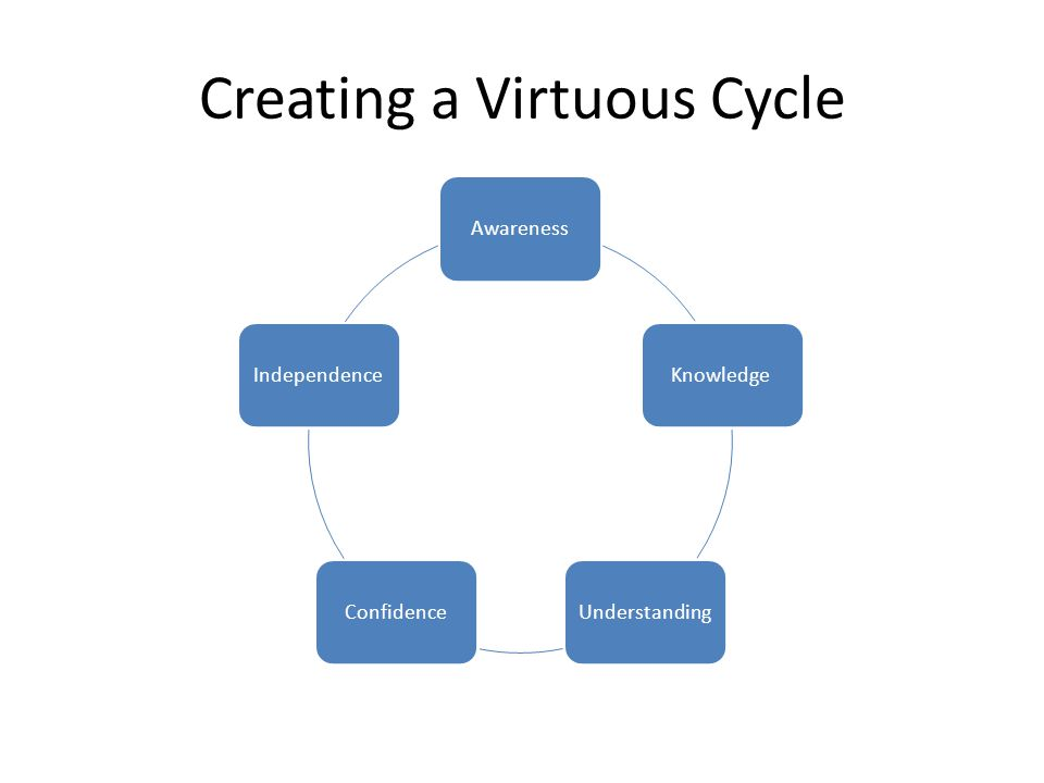 AwarenessKnowledgeUnderstandingConfidenceIndependence Creating a Virtuous Cycle