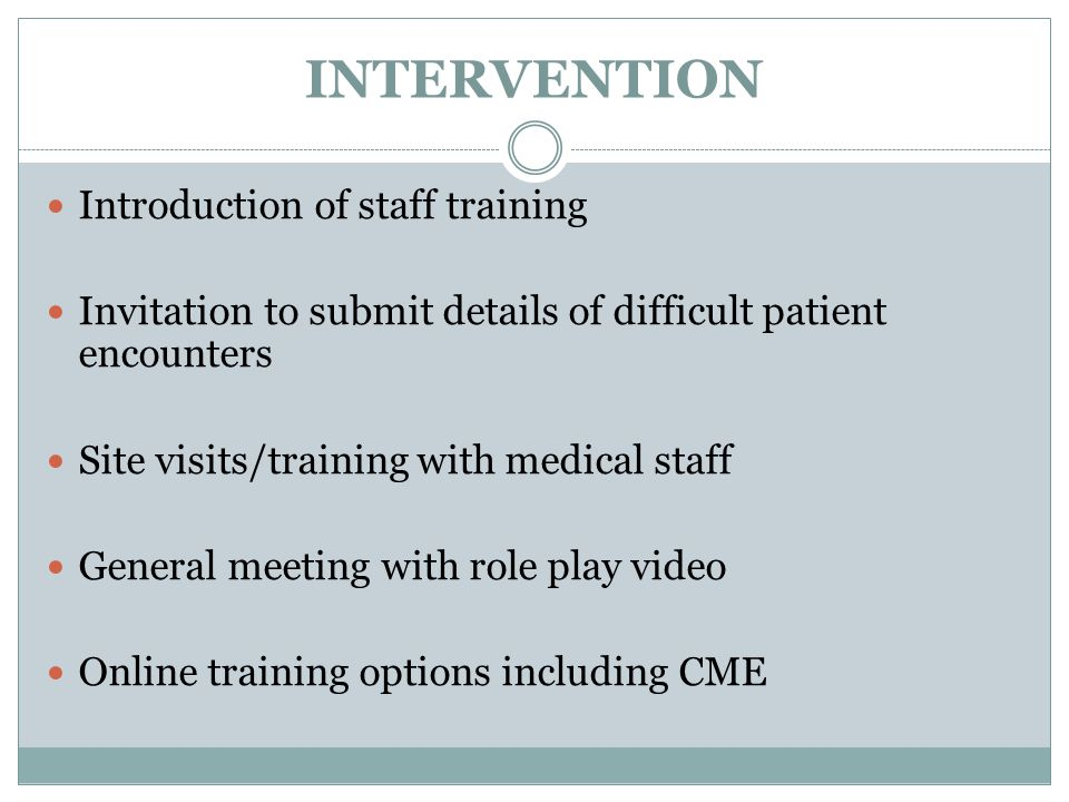INTERVENTION Introduction of staff training Invitation to submit details of difficult patient encounters Site visits/training with medical staff Gener