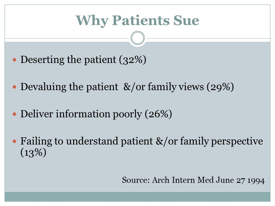 Why Patients Sue Deserting the patient (32%) Devaluing the patient &/or family views (29%) Deliver information poorly (26%) Failing to understand pati