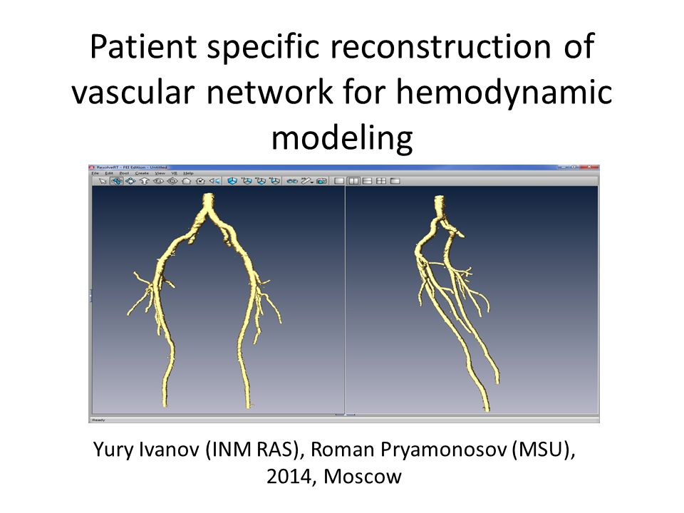 Patient specific reconstruction of vascular network for hemodynamic modeling Yury Ivanov (INM RAS), Roman Pryamonosov (MSU), 2014, Moscow