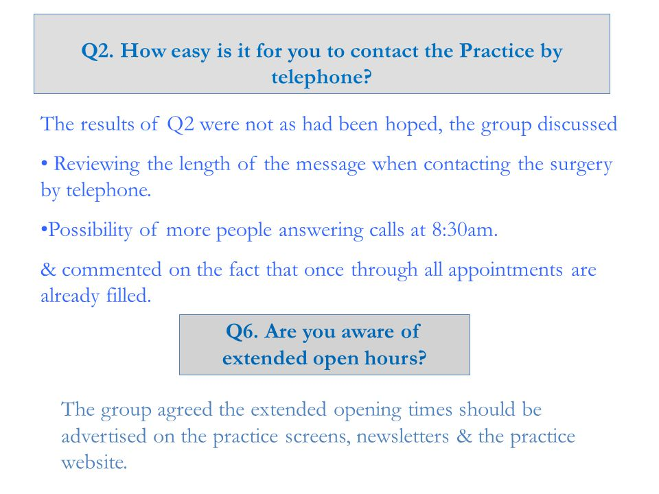 Q2. How easy is it for you to contact the Practice by telephone.