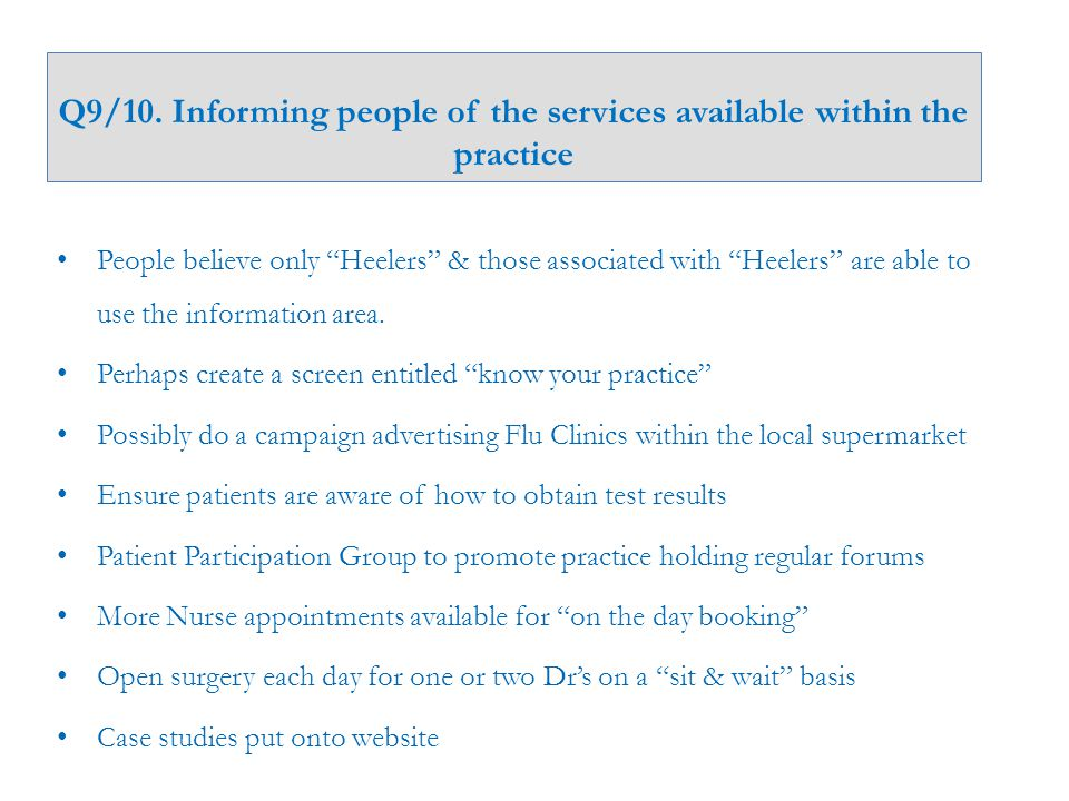 """Q9/10. Informing people of the services available within the practice People believe only """"Heelers"""" & those associated with """"Heelers"""" are able to use"""