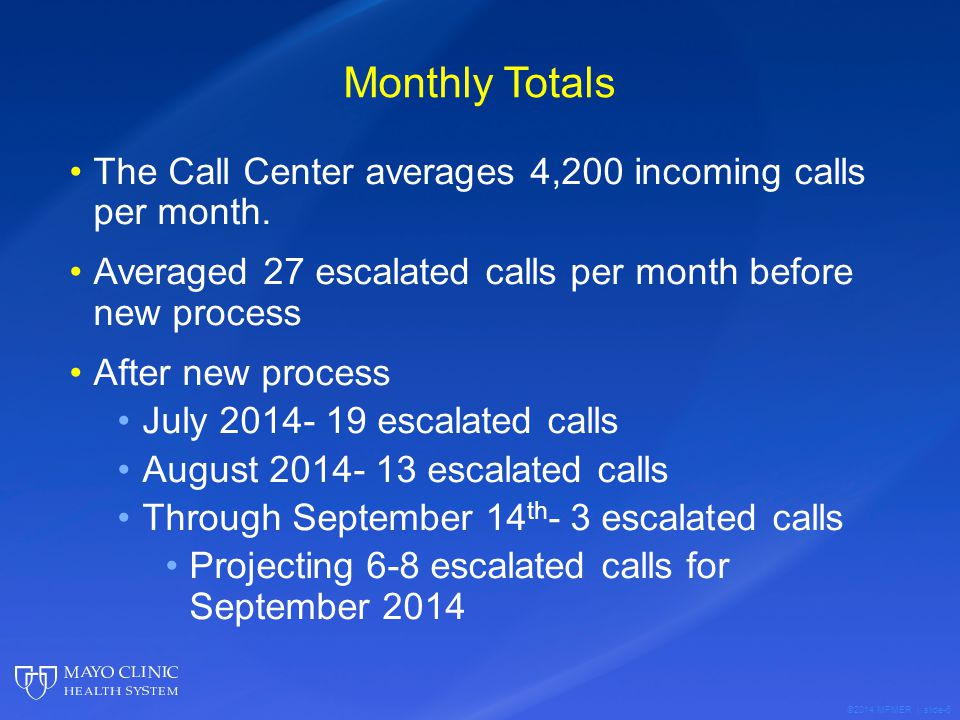 ©2014 MFMER | slide-6 Monthly Totals The Call Center averages 4,200 incoming calls per month. Averaged 27 escalated calls per month before new process