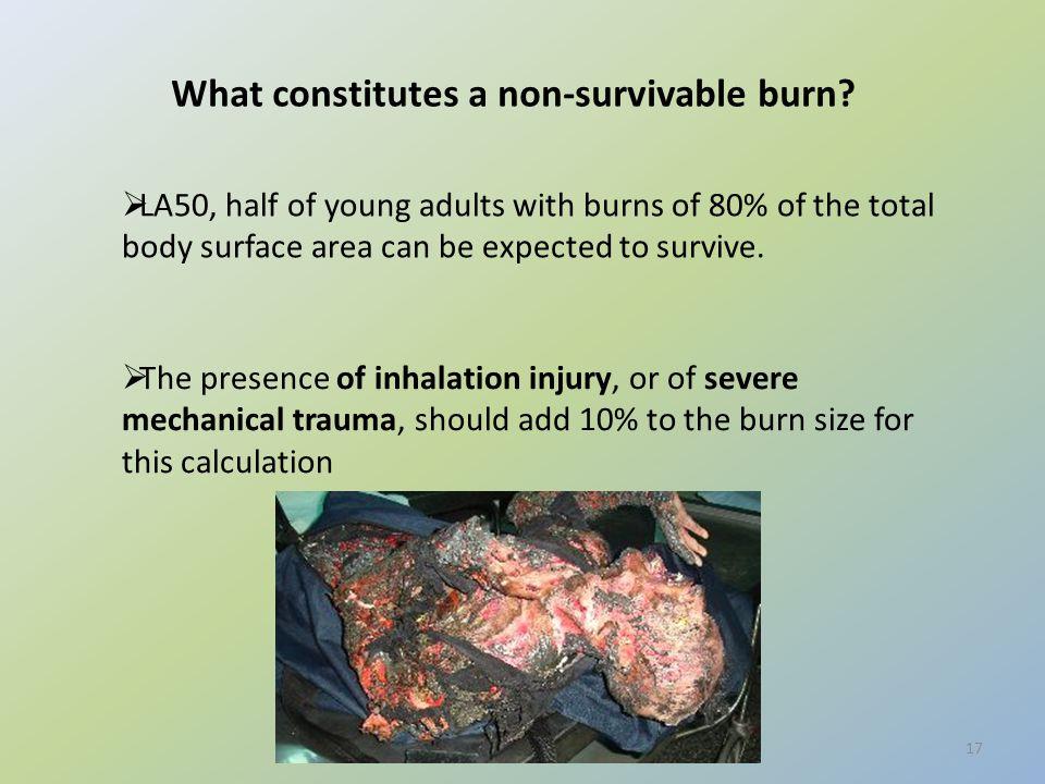 What constitutes a non-survivable burn.