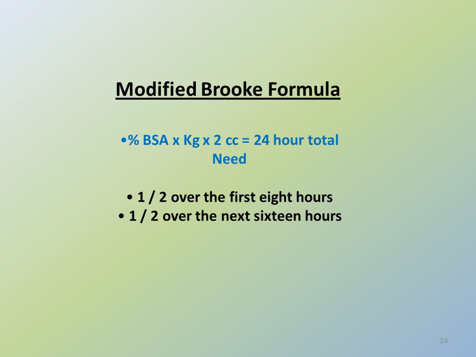 Modified Brooke Formula % BSA x Kg x 2 cc = 24 hour total Need 1 / 2 over the first eight hours 1 / 2 over the next sixteen hours 24