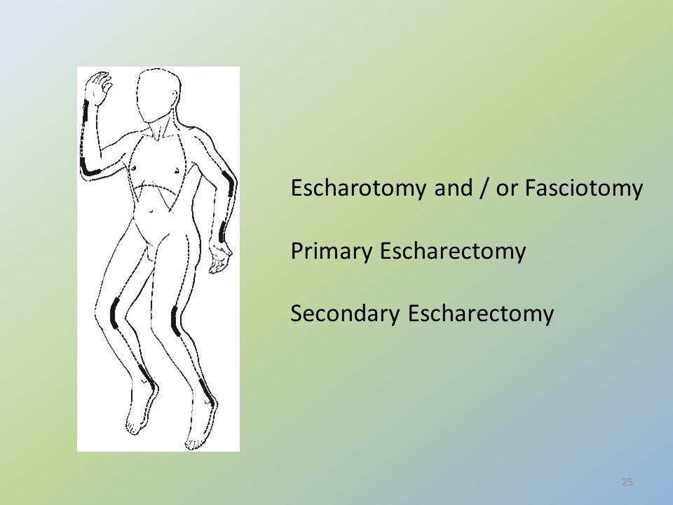 25 Escharotomy and / or Fasciotomy Primary Escharectomy Secondary Escharectomy