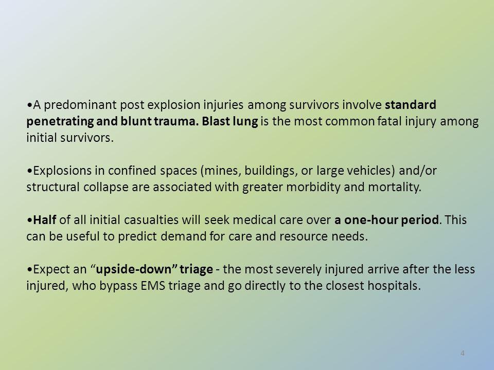 Α predominant post explosion injuries among survivors involve standard penetrating and blunt trauma.