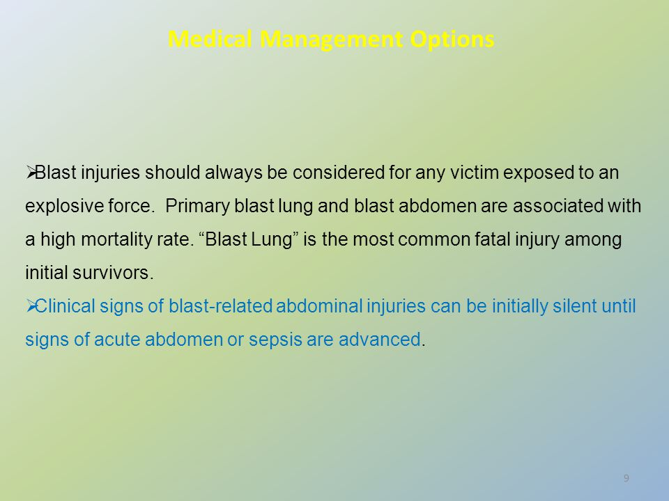  Blast injuries should always be considered for any victim exposed to an explosive force. Primary blast lung and blast abdomen are associated with a