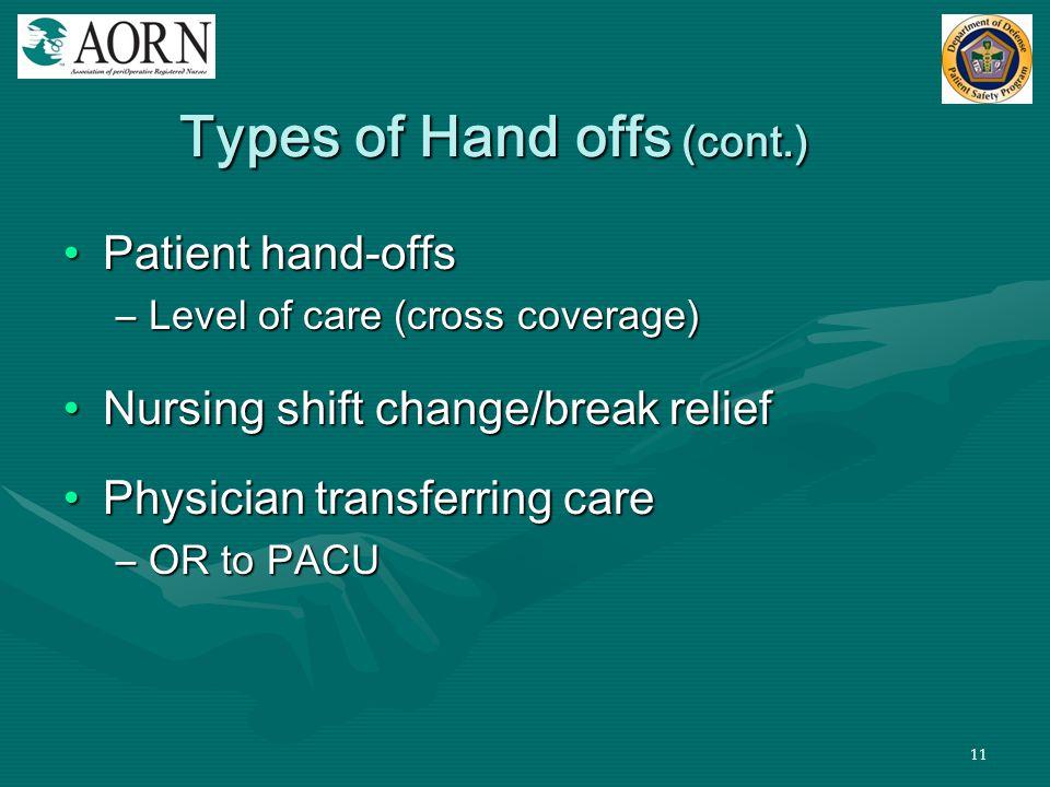 11 Types of Hand offs (cont.) Patient hand-offsPatient hand-offs –Level of care (cross coverage) Nursing shift change/break reliefNursing shift change