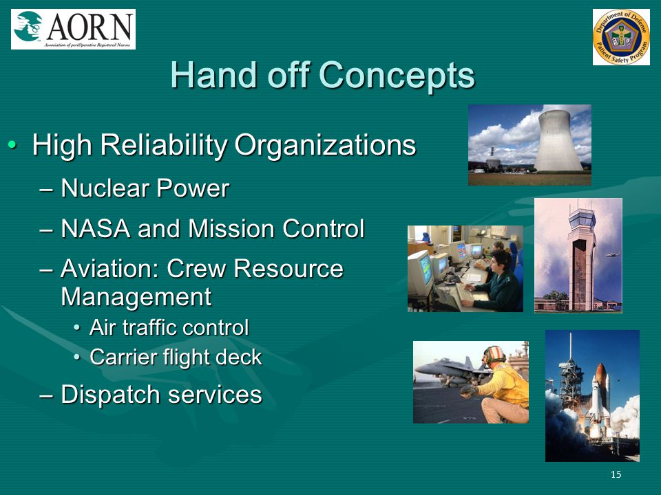15 Hand off Concepts High Reliability OrganizationsHigh Reliability Organizations –Nuclear Power –NASA and Mission Control –Aviation: Crew Resource Ma